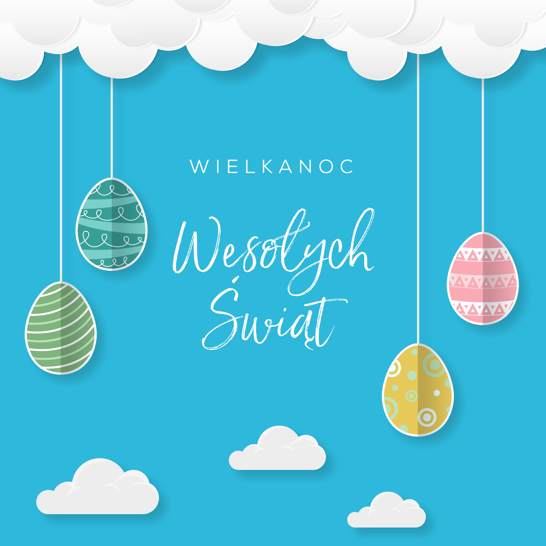Wielkanoc Wesołych Świąt, koncepcja kartki w języku polskim z przepięknymi kolorowymi jajkami wielkanocnymi, które zwisają na sznurku z chmur na niebie